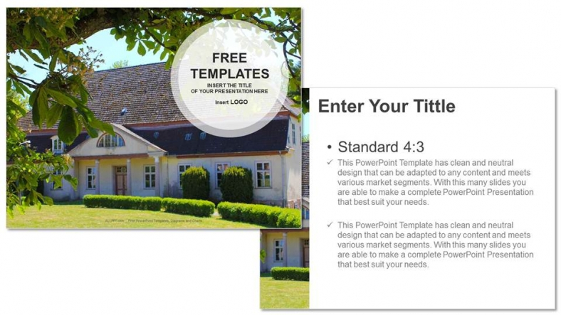 free real estate templates - house with green real estate ppt templates