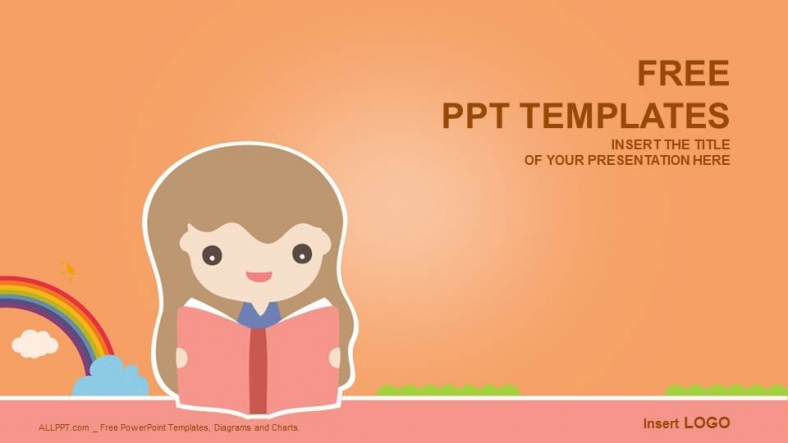 Cute Girl Reading Book Education Powerpoint Templates