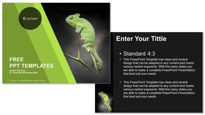 Chameleon-Sitting-on-Green-Plant-Nature-PPT-Templates (3)