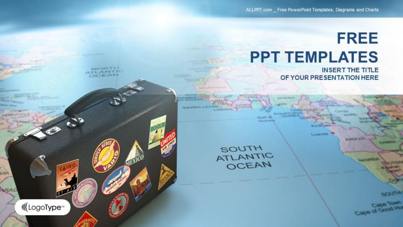suitcase on globe map business ppt templates. Black Bedroom Furniture Sets. Home Design Ideas