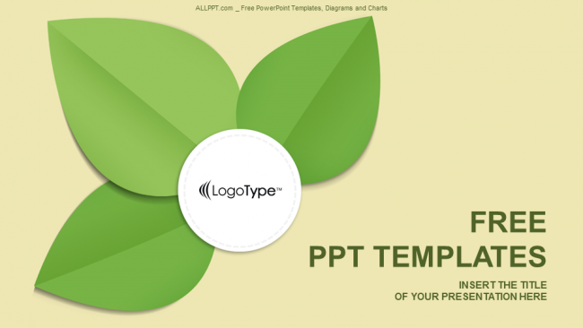 Green Leaf Abstract Powerpoint Templates