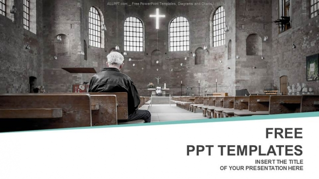 Man praying in church PowerPoint Templates