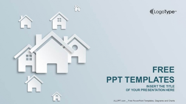 Hand and wood house-real estate powerpoint templates.