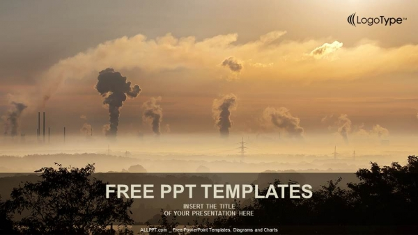 Black Smoke From Smoke Stack Powerpoint Templates