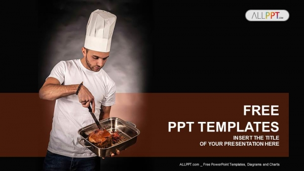 chef cook holding pan with meat powerpoint templates