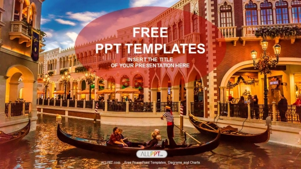 gondolas with tourists in venice travel powerpoint templates. Black Bedroom Furniture Sets. Home Design Ideas