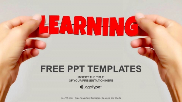 hand and word learning powerpoint templates