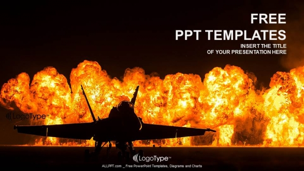 jet fighter with fire powerpoint templates. Black Bedroom Furniture Sets. Home Design Ideas