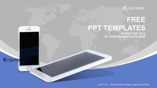 mobile phones with lines powerpoint templates