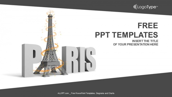 paris word with eiffel tower powerpoint templates