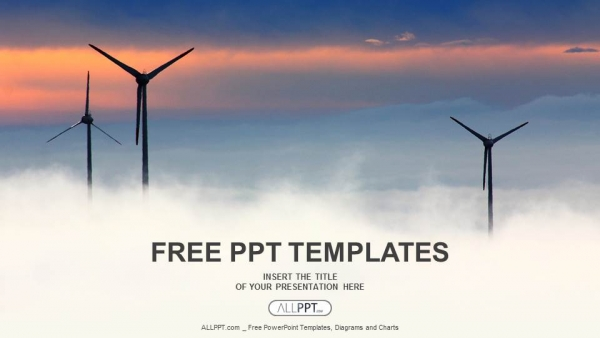 windrad with cloudscape powerpoint templates