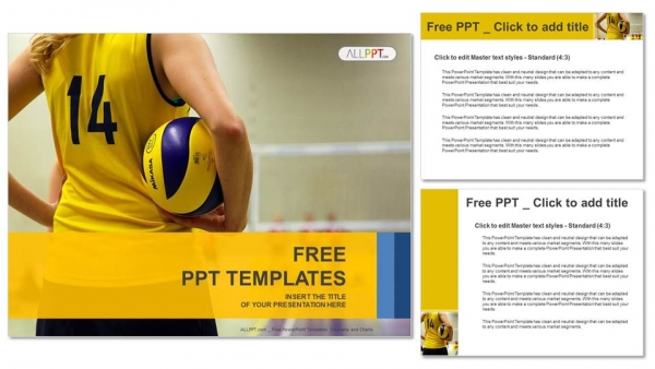 Young Girl Holding Volleyball Sports Powerpoint Templates