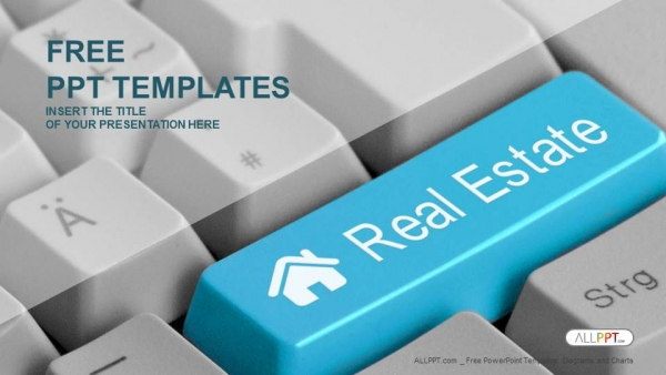 computer keyboard with real estate key powerpoint templates