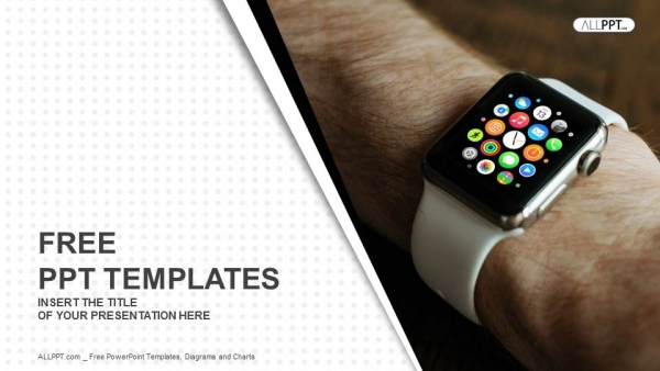 Hand wearing elegant smartwatch PowerPoint Templates