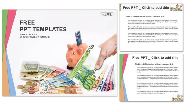 Piggy Bank With Money Finance Powerpoint Templates