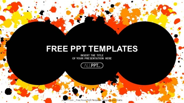Grunge Circle With Cmyk Ink Splashes Powerpoint Templates