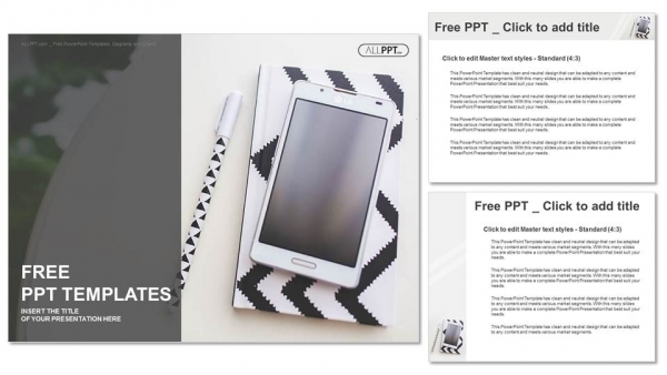 Notebook, pen and mobile phone PowerPoint Templates