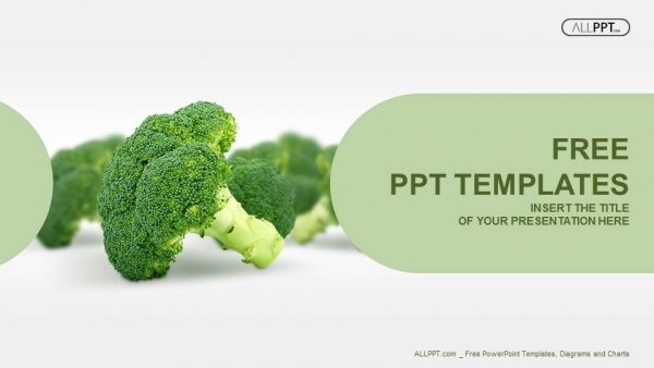 fresh broccoli isolated on white powerpoint templates