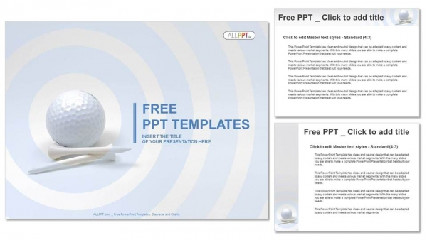 Golf Ball And White Tees Powerpoint Templates