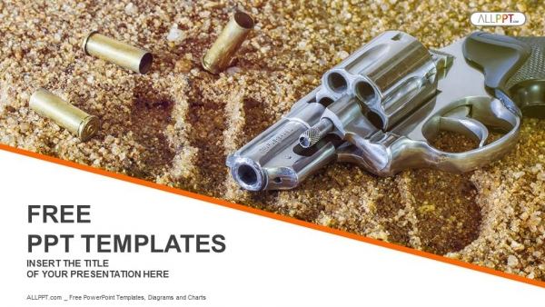 Blog elements handgun and bullets isolated on sand background powerpoint templates toneelgroepblik Images