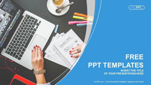 Free computers powerpoint template design notebook laptop and coffee cup on black table powerpoint templates 1 accmission Images