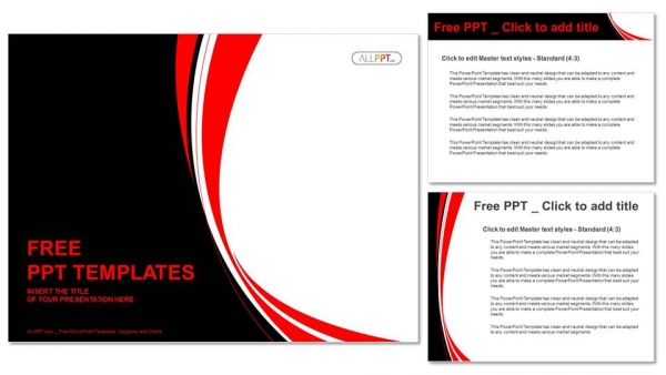Abstract red and black wavy background PowerPoint Template