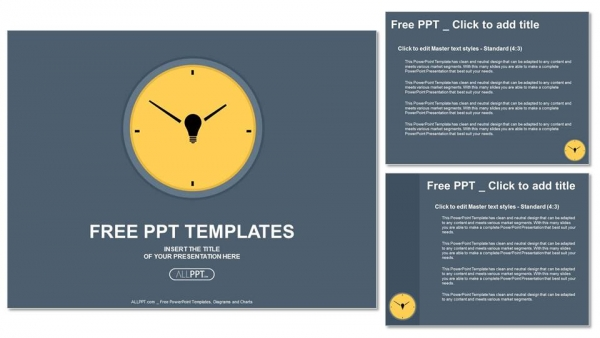 yellow round clock on gray background powerpoint templates