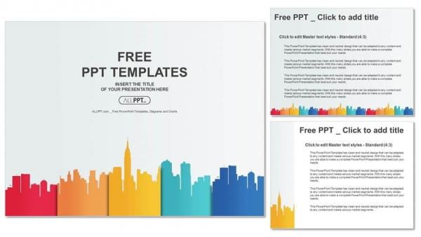 City Buildings Silhouettes And Colors Powerpoint Templates