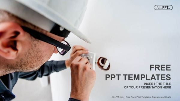 Electrician working at plug socket PowerPoint Templates (1)