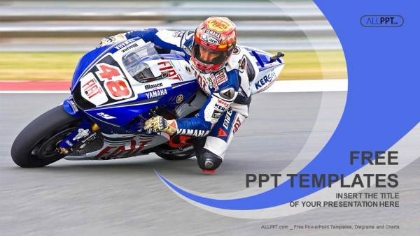 Motorcycle racing into a fast corner on track PowerPoint Templates (1)