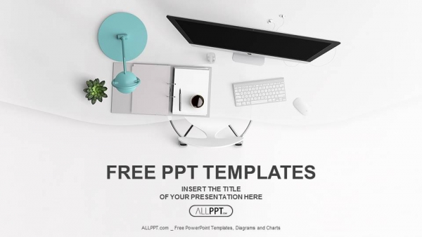 Top view of office supplies on table PowerPoint Templates (1)
