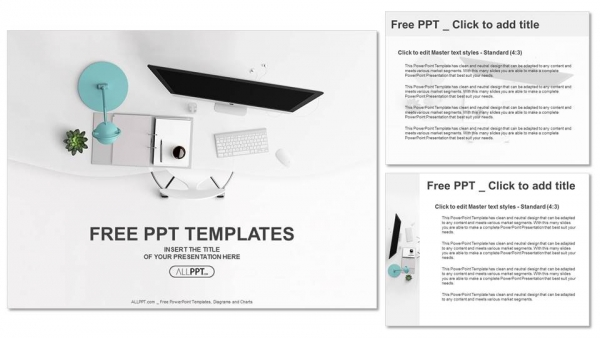 top view of office supplies on table powerpoint templates