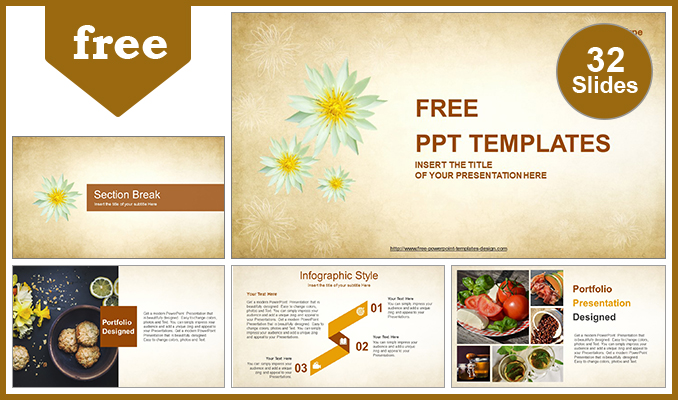 Abstract White Flowers Powerpoint Template