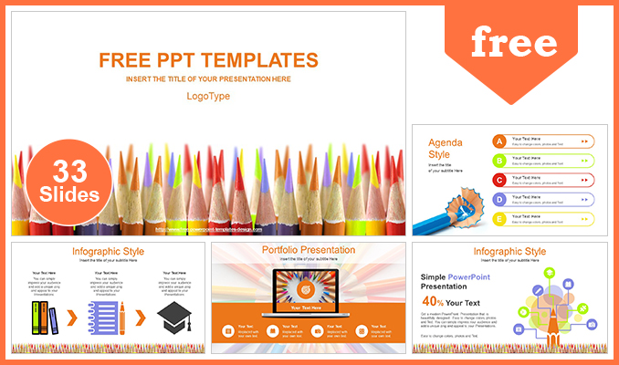 Colored Pencils Education Concept PowerPoint Template
