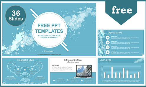 f8c82d710fac Water Colored Splashes PowerPoint Template