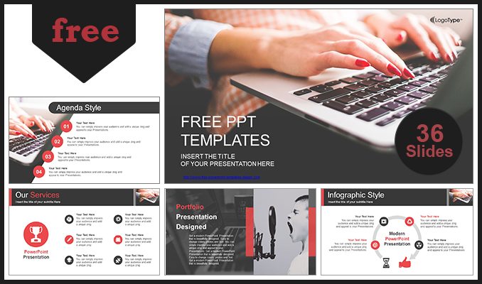 Computer Business Using Laptop Powerpoint Template