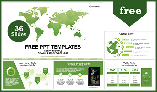 Global Business Map Powerpoint Template