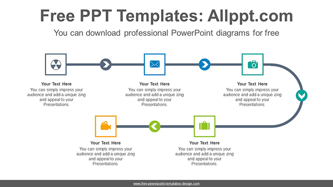 5-step linear flow powerpoint diagram template  free powerpoint templates design