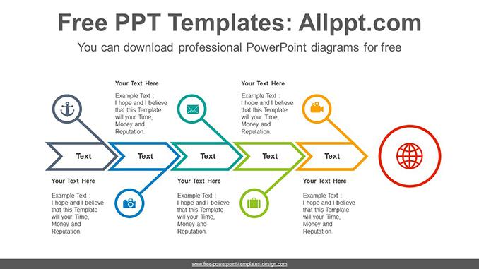 Fishbone Arrow Powerpoint Diagram Template