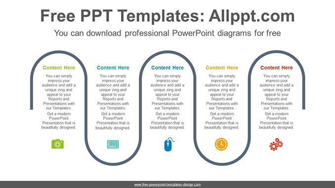 Five Flow Process Powerpoint Diagram Template