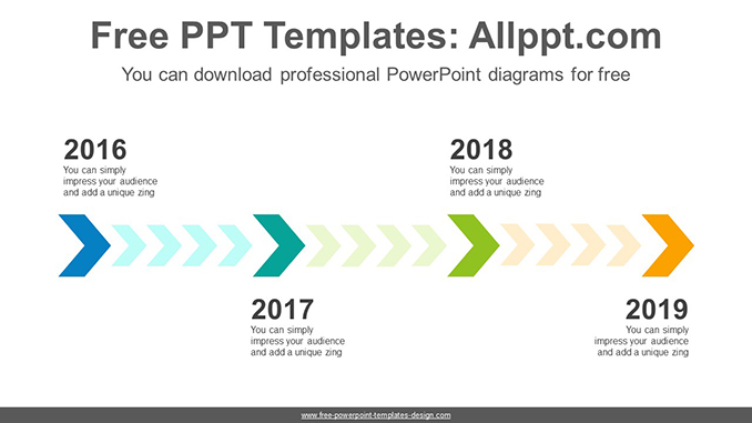 four step chevron powerpoint diagram template
