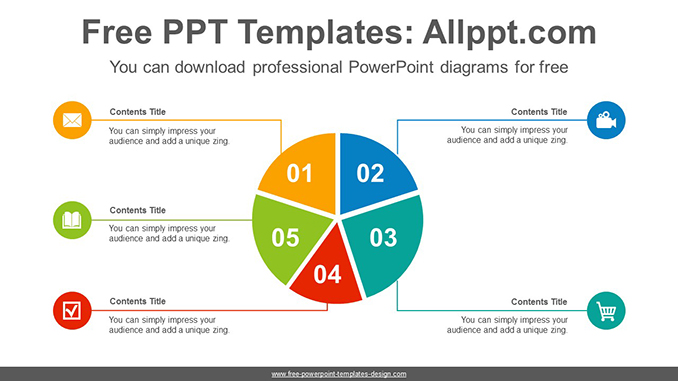 5 split pie chart powerpoint diagram template. Black Bedroom Furniture Sets. Home Design Ideas