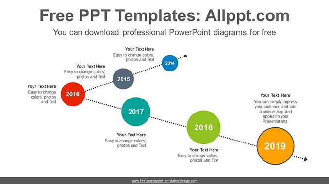 Circle above dotted line PowerPoint Diagram Template