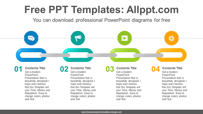 Colorful Chain Powerpoint Diagram Template