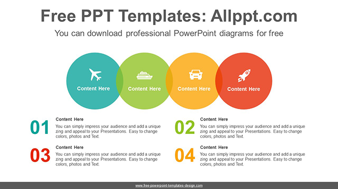 colorful circle list powerpoint diagram template