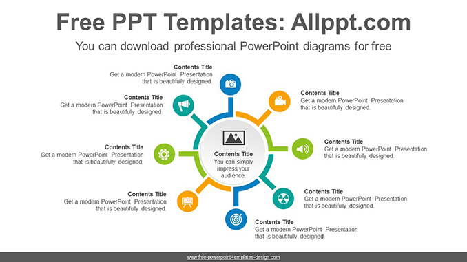 Divergent circles PowerPoint Diagram Template on