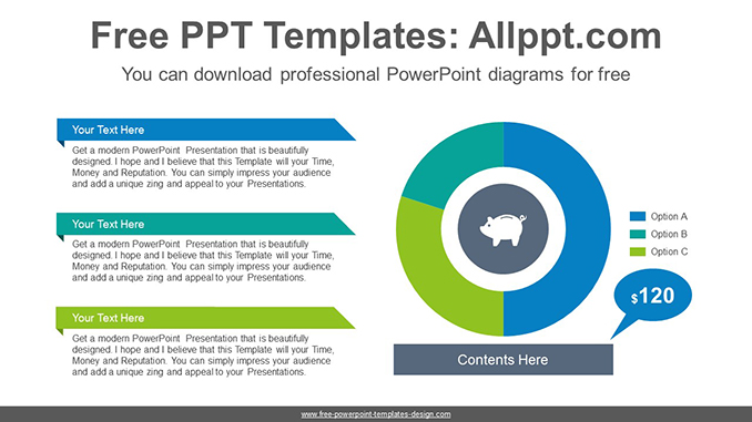 Donut-pie chart PowerPoint Diagram Template