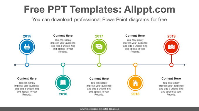 Five circled timelines PowerPoint Diagram Template