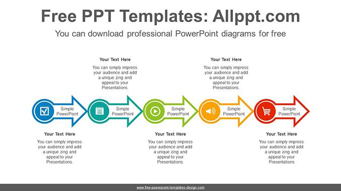 Horizontal alignment arrow PowerPoint Diagram Template