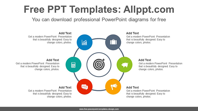 Radial circles PowerPoint Diagram Template on